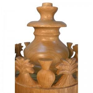 crown carved Sephardic solid wood carved seven species torah case
