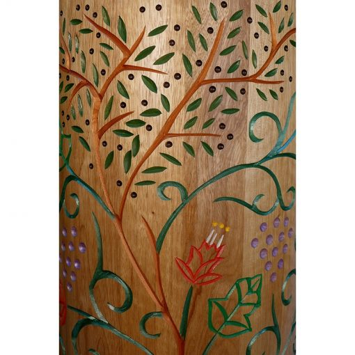 carving and painting detail of seven species on sephardic torah case