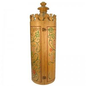 Sephardic solid wood carved seven species torah case