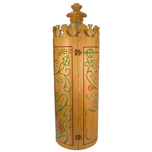 Sephardic solid wood carved seven species torah case