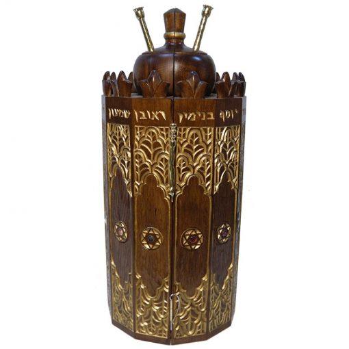 solid wood carved Syrian Torah Case