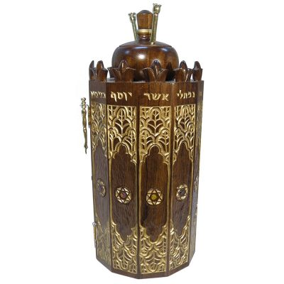 solid wood carved Syrian Torah Case side view