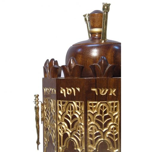 solid wood carved Syrian Torah Case detail