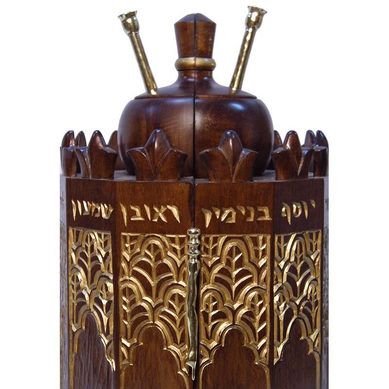 solid wood carved Syrian Torah Case crown
