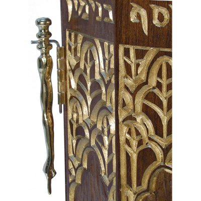 solid wood carved Syrian Torah Case brass yad pointer