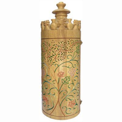 Seven Species torah case with wood carving and painting