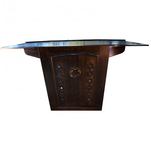 Folding Table Portable Torah Reading Table open with carving