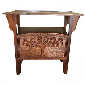 Tree of Life carved wood torah table with tree of life motif