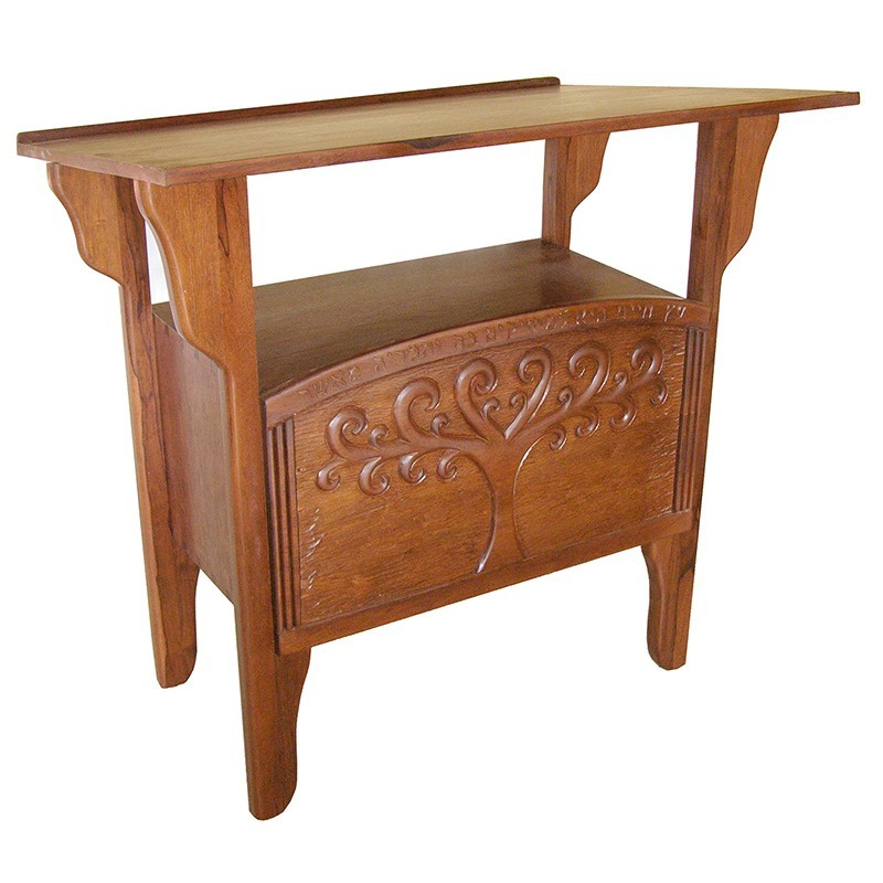 Tree of Life carved wood torah table