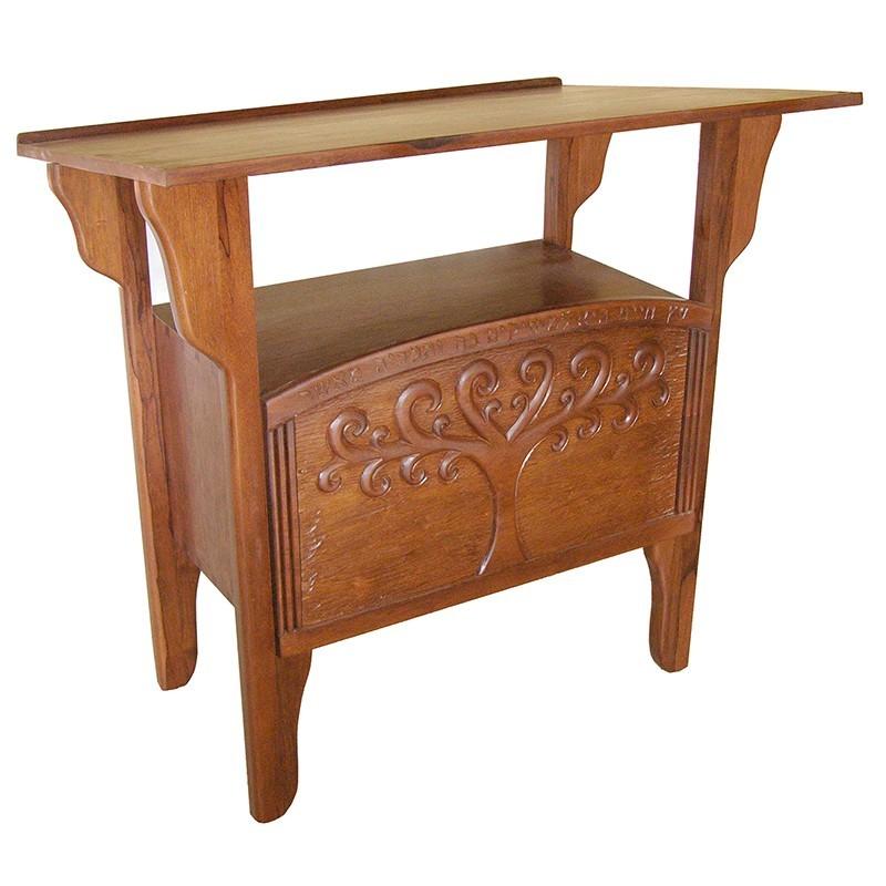 Tree of Life carved wood torah table