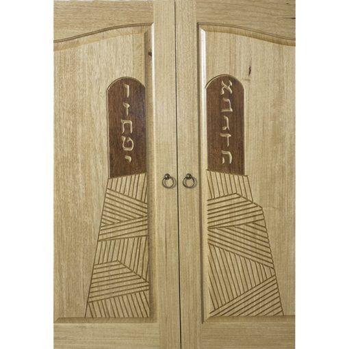 hand carved wood ten commandments on torah ark doors
