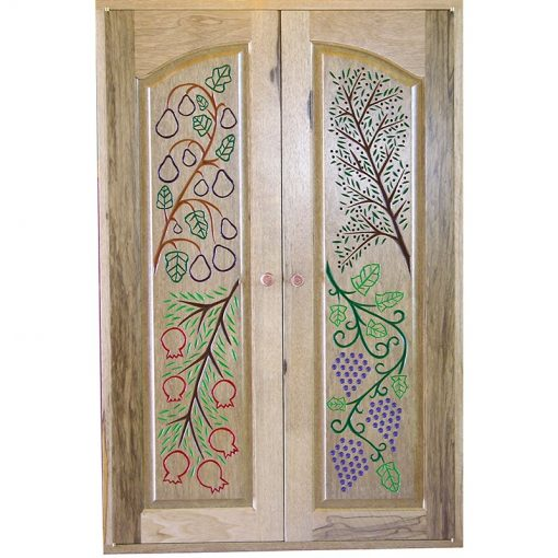 Seven Species Torah Ark carved wood doors