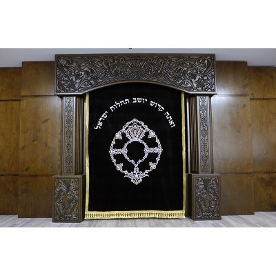 Synagogue Design and interior aron kodesh with carving and parochet