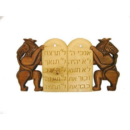 ten commandments wood carving