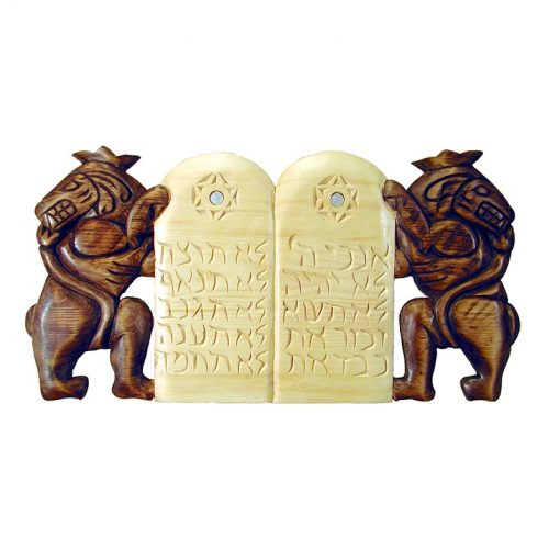 ten commandments wood carving with lion for top of torah ark