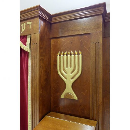 details of molding and menorah with LED lighting for built in aron kodesh