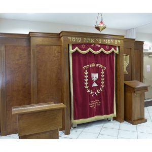 Built in Torah Ark from solid wood with carving and ner tamid