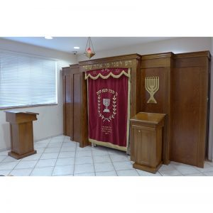 wood aron kodesh with menorah lecterns amud tefillah and parochet for Miami synagogue