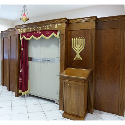 built in aron kodesh with safe and parochet for Young Israel of Greater Miami