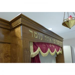 Aron kodesh with gold pasuk and parochet for Miami synagogue