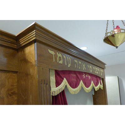 Aron kodesh with gold pasuk and parochet for Miami synagogue