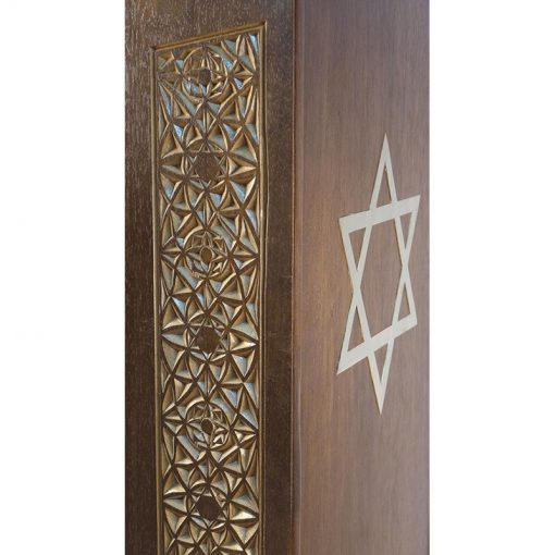 Sephardic amud teffilah carved wood detail of carving and bronze magen david