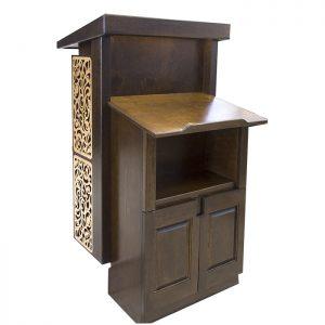 wood lectern acts as amud tefillah and podium