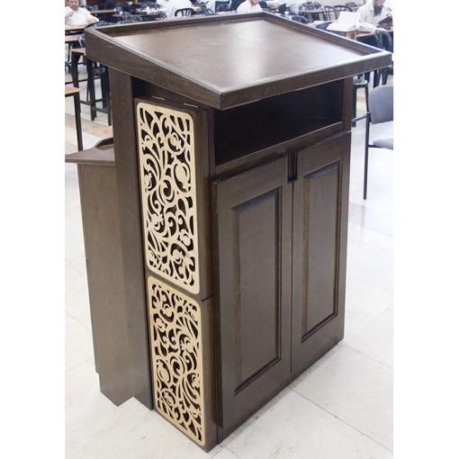 wood amud tefillah for synagogue in bet shemesh laser cut