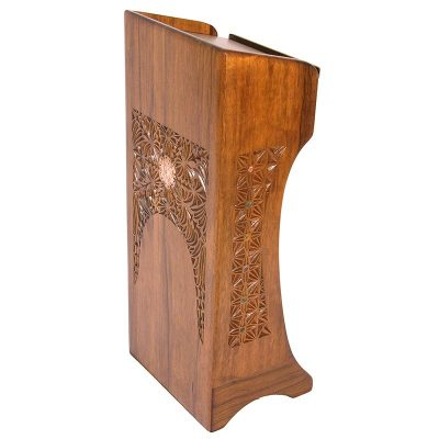 carved wood podium for synagogue with carving and brss overlay