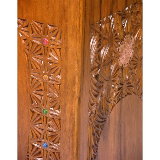 details of hand carved wood shtender