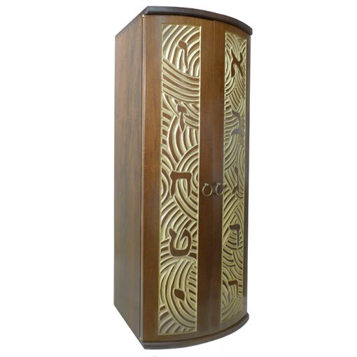 Curved door aron kodesh for one torah carved with aleph bet