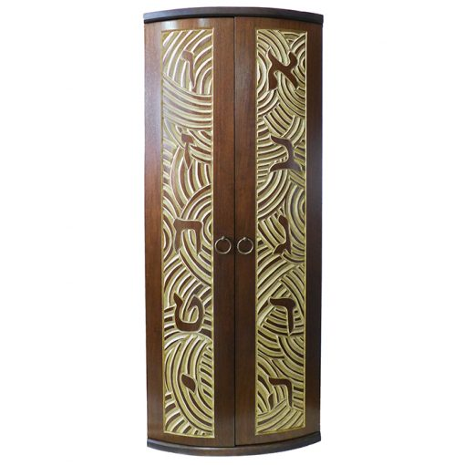Curved door aron kodesh for one torah carved with aleph bet solid wood