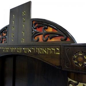 aron kodesh detail of wood and glass