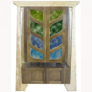 Stained glass aron kodesh for synagogue with contemporary design