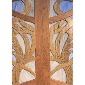 aron kodesh contemporary art design cherry walnut doors
