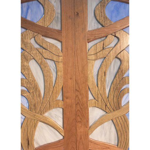 aron kodesh contemporary art design cherry walnut doors