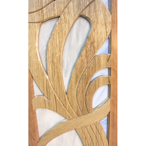 details of stained glass and wood frame aron kodesh contemporary art noveau design