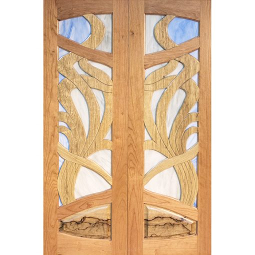 aron kodesh contemporary art noveau stained glass and solid wood doors