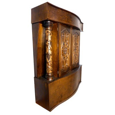 side view of sdcarved columns aron kodesh with curved base