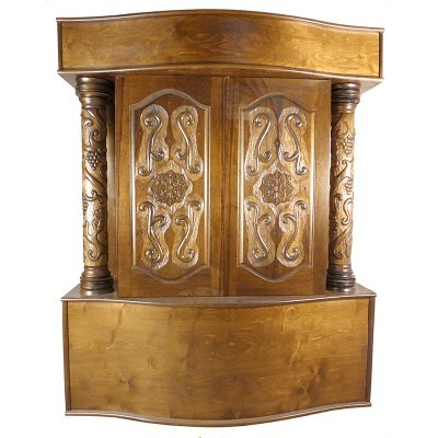 carved columns aron kodesh with curved base