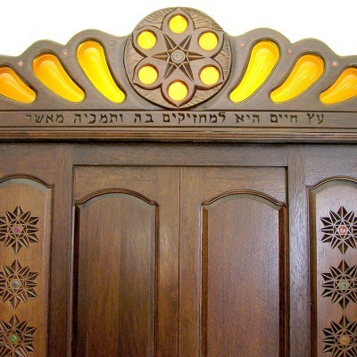 columns and twelve tribes aron kodesh crown ner tamid