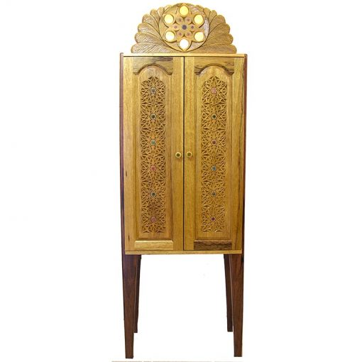 modern craft aron kodesh with carved doors and ner tamid