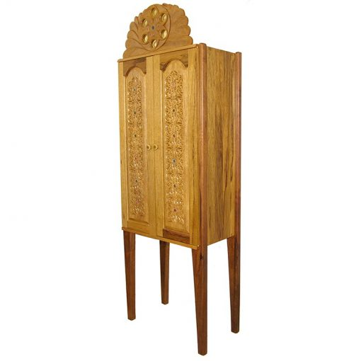 modern craft aron kodesh with carved doors from the side view