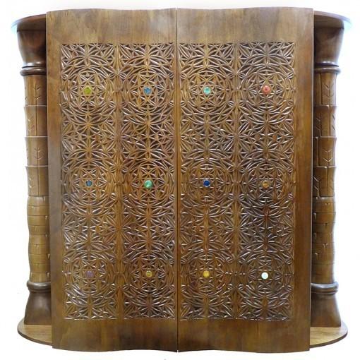 curved solid wood door aron kodesh