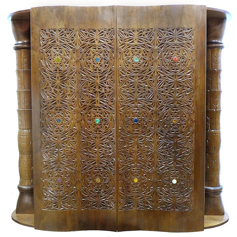 curved solid wood door aron kodesh