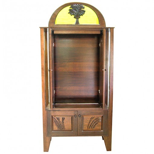 Or Zaruah Torah Ark with seven species wood carving with pocket doors open