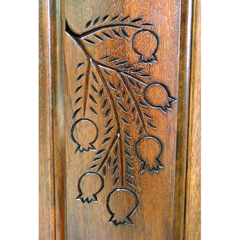 Or Zaruah Torah Ark with seven species wood carving of pomegranite