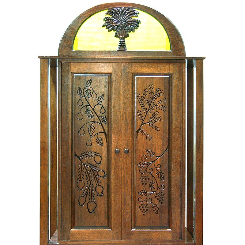 Or Zaruah Torah Ark with seven species wood carving, columns, and ner tamid