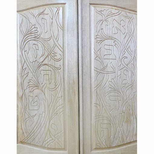 solid wood doors with aleph bet carving