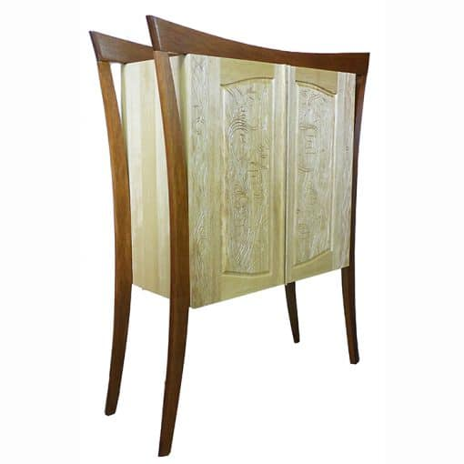 hanging aron kodesh with aleph bet carving in solid wood